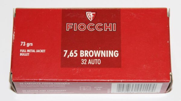 FIOCCHI 7,65mmBrowning / .32Auto 4,73g / 73gr FMJ 50 Patronen