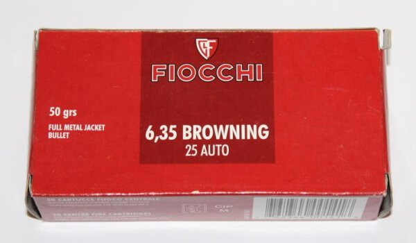 FIOCCHI 6,35mmBrowning / .25Auto 3,24g / 50gr FMJ 50 Patronen